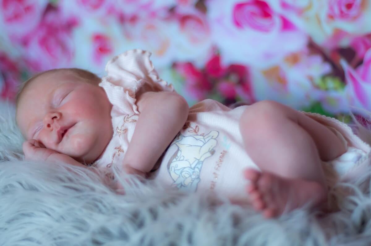 sesja noworodkowa łódź sesja domowa śpiący noworodek na futerku na tle róż
