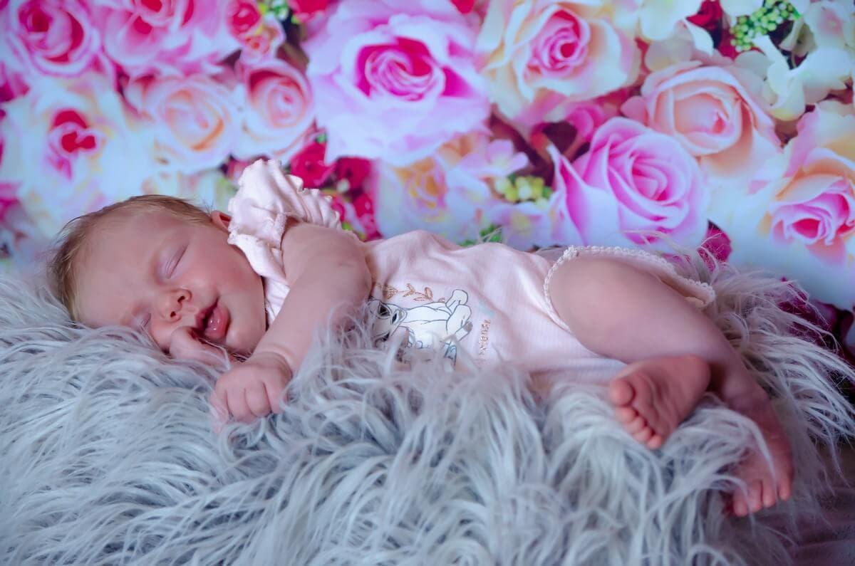 sesja noworodkowa łódź śpiący noworodek na futerku w tle różowe róże sesja domowa