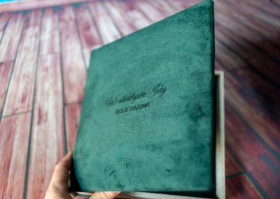fotoalbum aksamitna okładka pamiątka sesji ciążowej łódź