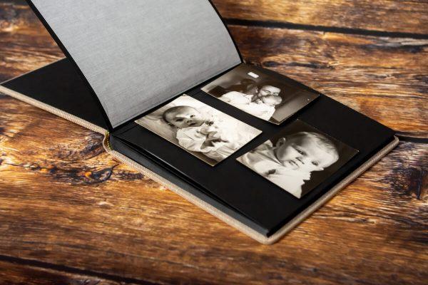 ekskluzywny album tradycyjny z przekładką z pergaminu fotograf łódź czarnobiałe zdjęcia