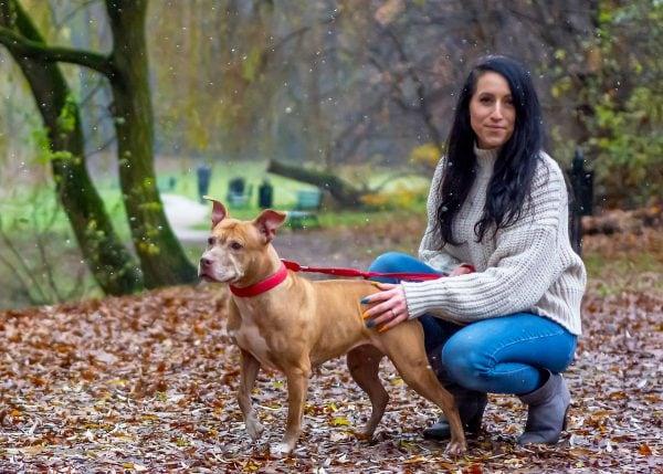 rodzinna sesja zimowa z psami fotograf zwierząt łódź kobieta z psem na smyczy w parku