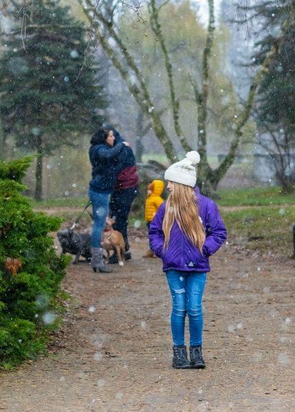 rodzinna sesja zimowa z psami fotograf rodzinny łódź córka na tle przytulających się rodziców
